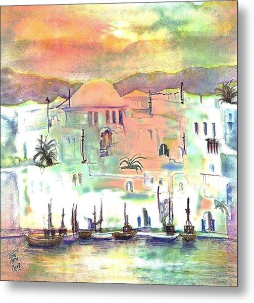 Sunset Over Mykonos Greece Metal Print