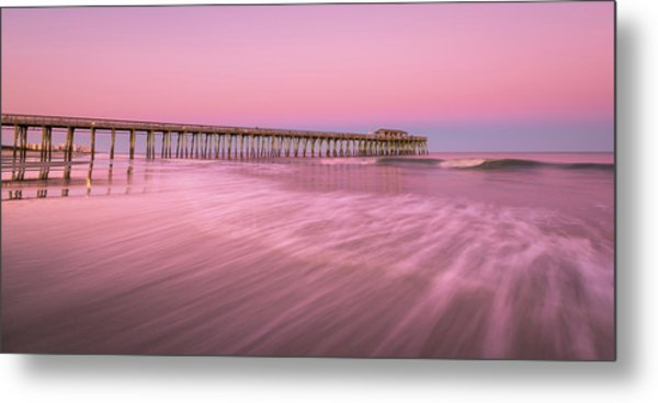Metal Print featuring the photograph Myrtle Beach Fishing Pier At Sunset Panorama by Ranjay Mitra