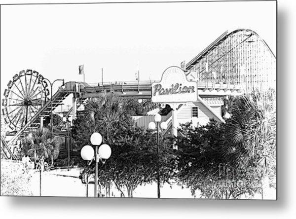 Myrtle Beach Pavillion Amusement Park Monotone Metal Print