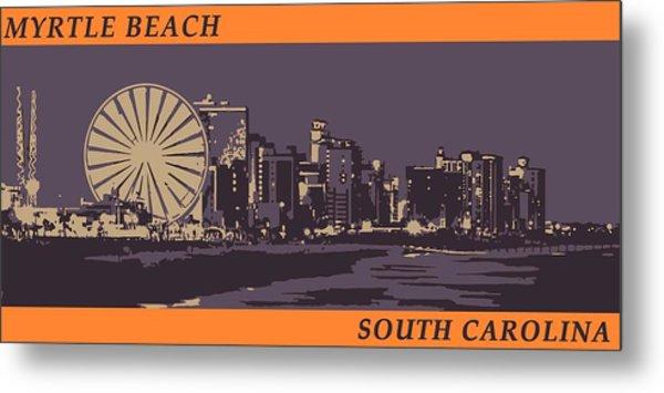Metal Print featuring the digital art Myrtle Beach, Sc Skyline by Jennifer Hotai