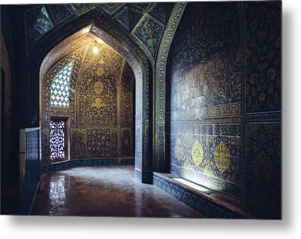 Mysterious Corridor In Persian Mosque Metal Print