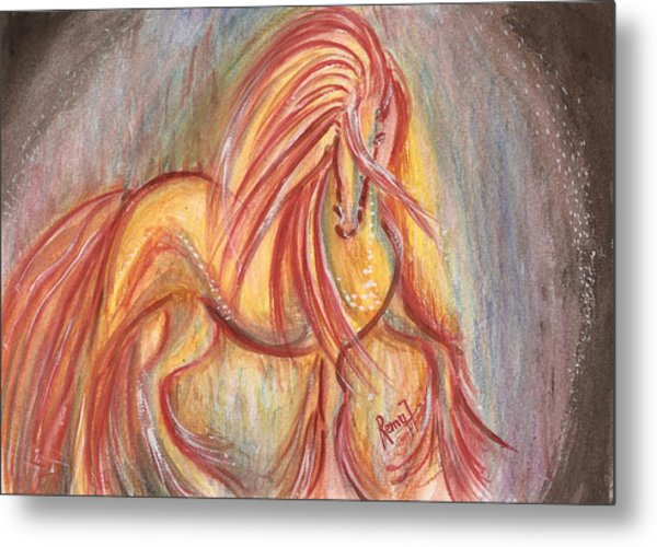 Dancing Abstract Horse Metal Print by Remy Francis