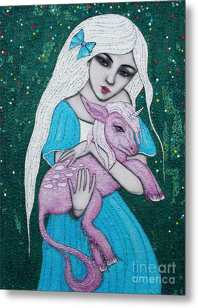 Metal Print featuring the mixed media Mystical Beginnings by Natalie Briney