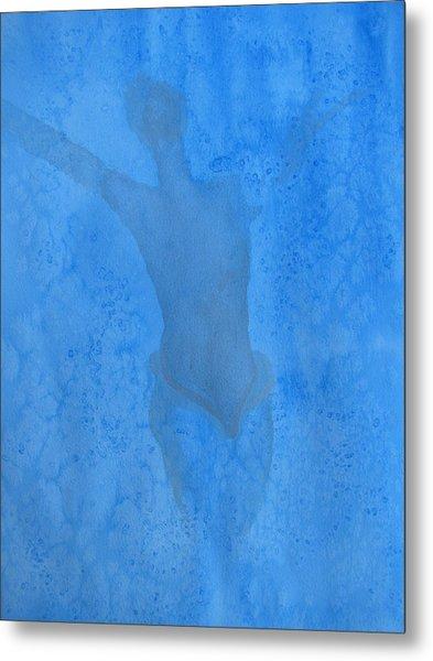 Mystical Merman In Blue Metal Print by Lindie Racz