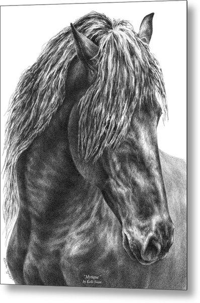 Mystique - Friesian Horse Portrait Print Metal Print