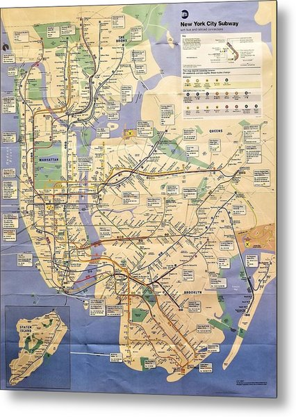 N Y C Subway Map Metal Print