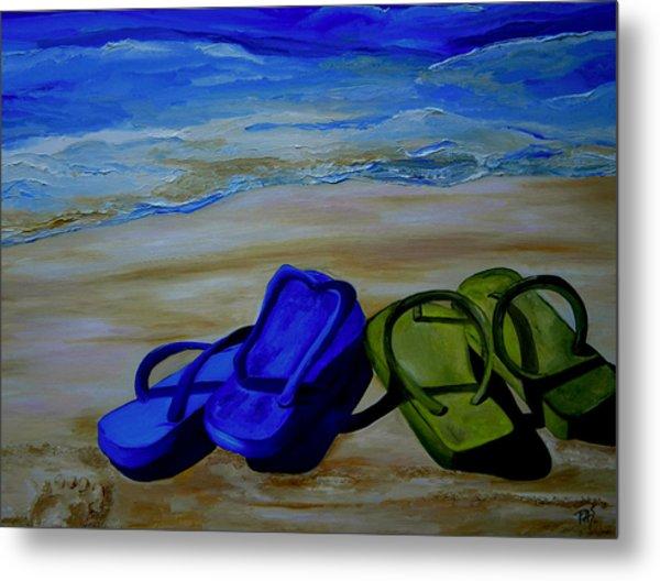 Naked Feet On The Beach Metal Print