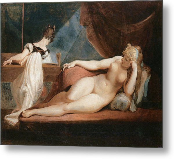 Naked Woman And Woman Playing The Piano Metal Print by Johann Heinrich Fussli