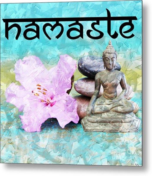 Metal Print featuring the mixed media Namaste Buddha by Lita Kelley