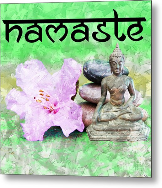 Metal Print featuring the mixed media Namaste Buddha. V2 by Lita Kelley