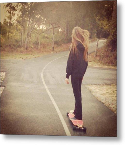 #namaste #skatesesh #skate #longboard Metal Print
