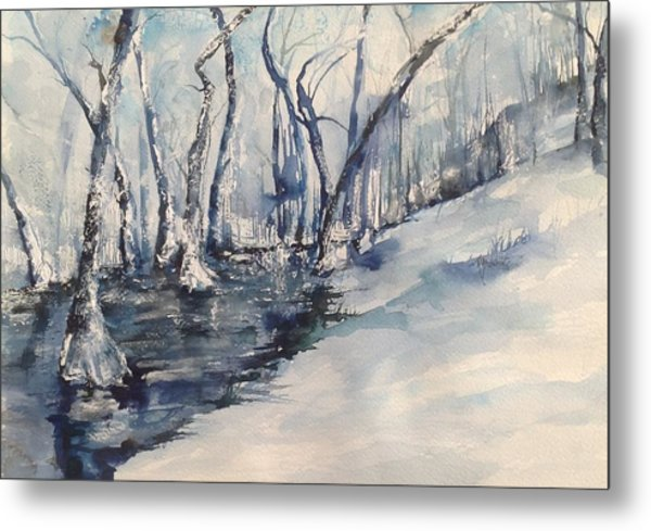 Nancy's Creek Winter Of 2012 Metal Print by Robin Miller-Bookhout