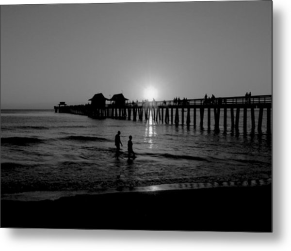 Naples Florida Pier Sunset Metal Print