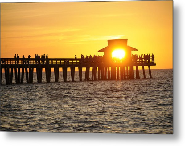 Naples Florida Sunset Pier Metal Print by Keith Lovejoy