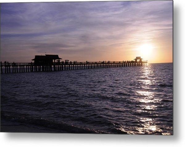 Naples Pier Sundown Metal Print by Keith Lovejoy