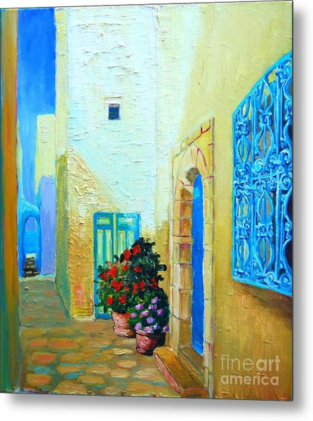 Narrow Street In Hammamet Metal Print