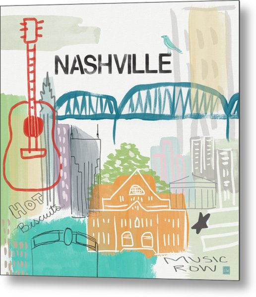 Nashville Cityscape- Art By Linda Woods Metal Print
