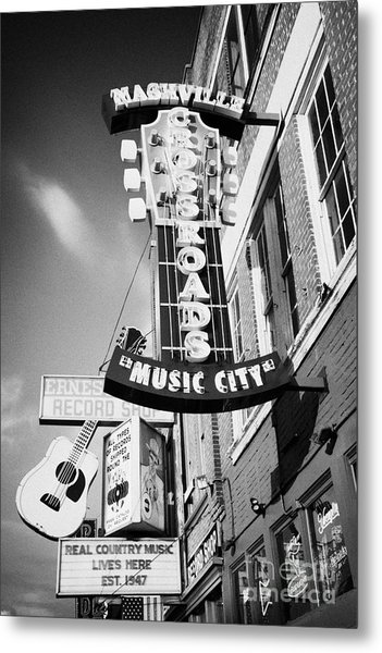 nashville crossroads music city ernest tubbs record shop on broadway downtown Nashville Tennessee US Metal Print by Joe Fox