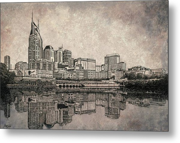 Nashville Skyline Mixed Media Painting  Metal Print