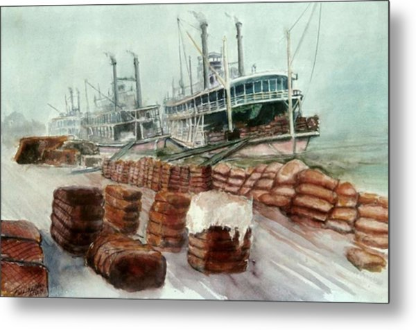 Natchez Cotton Docks  Metal Print