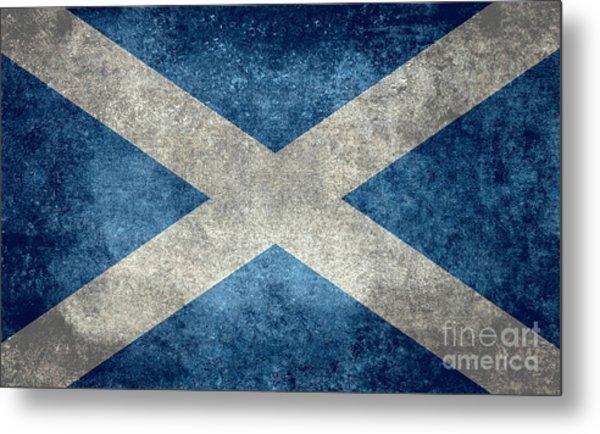 National Flag Of Scotland Vintage Version Metal Print