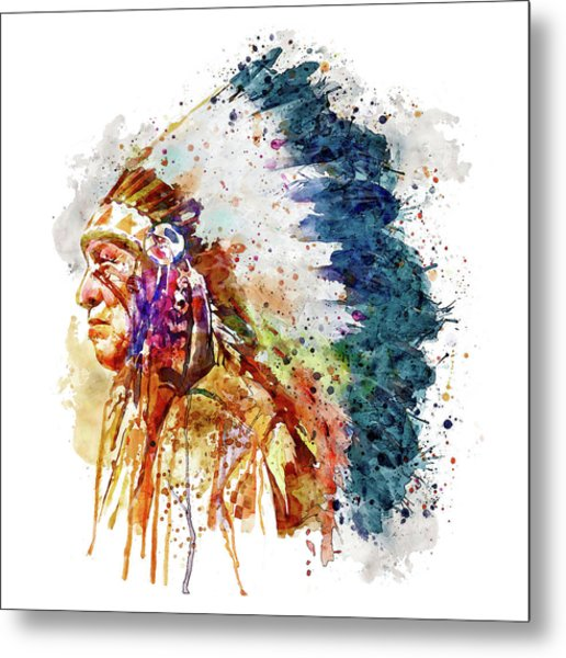 Native American Chief Side Face Metal Print