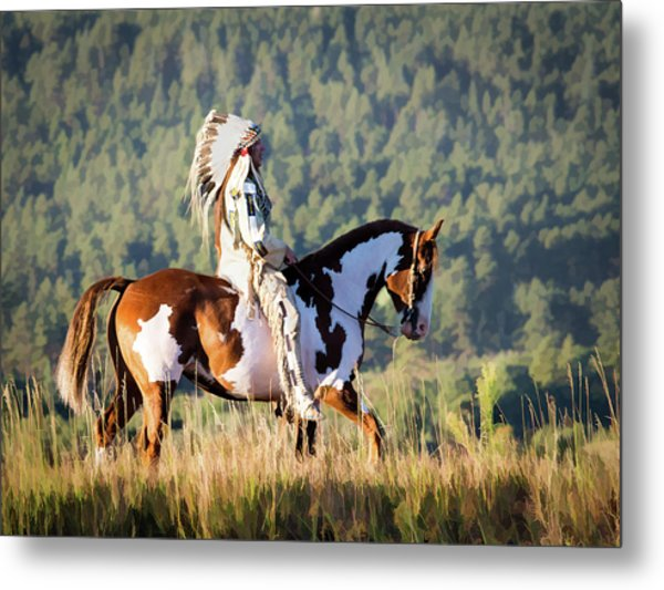 Native American On His Paint Horse Metal Print