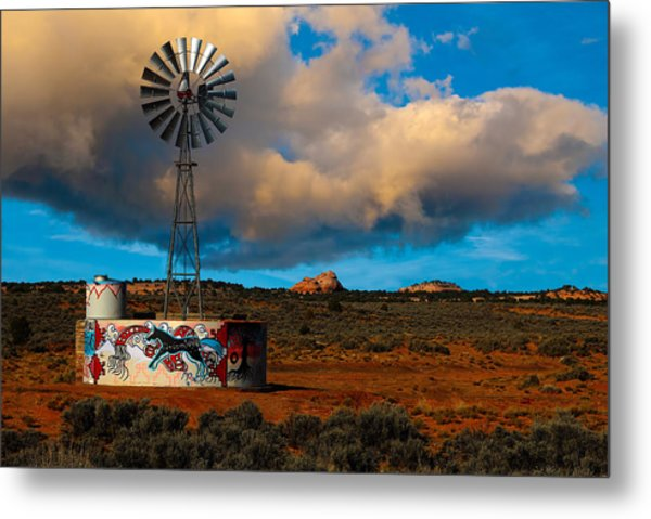 Native American Windmill Metal Print