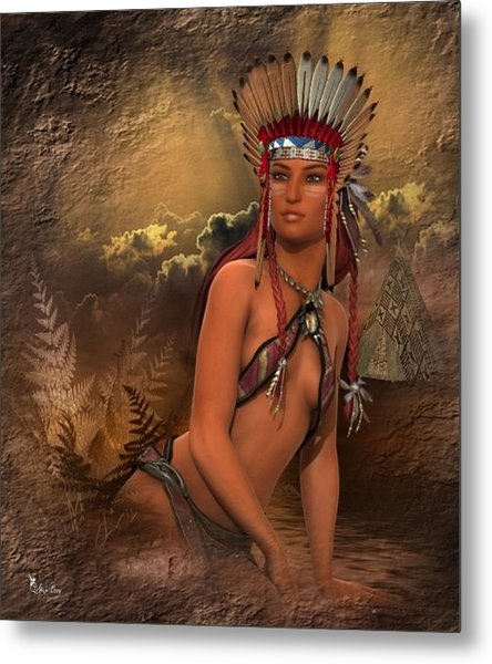 Native American Woman... Abedabun Metal Print