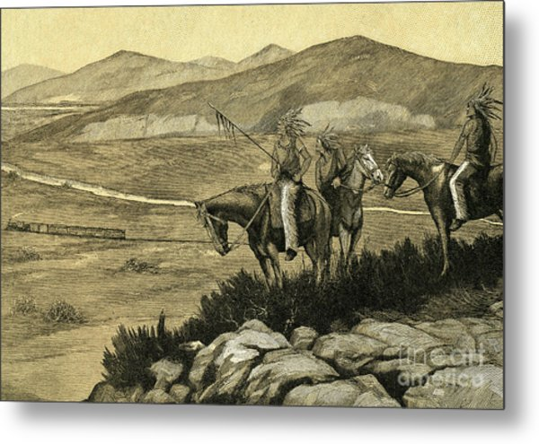 Native Americans Watching A Locomotive Traverse The American West Metal Print