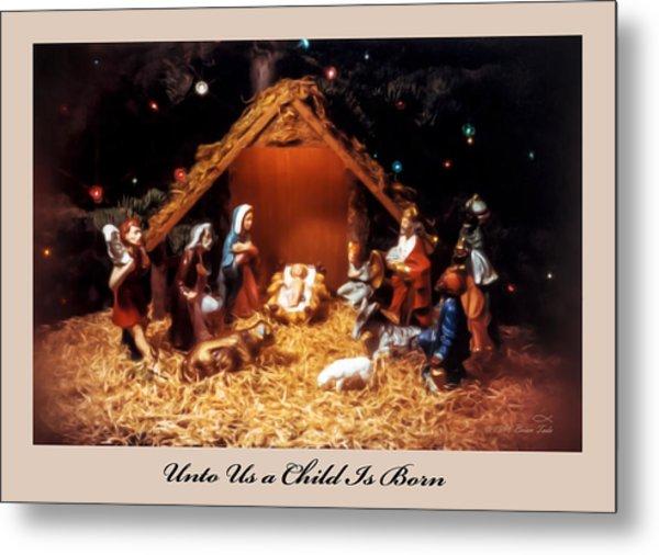Nativity Scene Greeting Card Metal Print