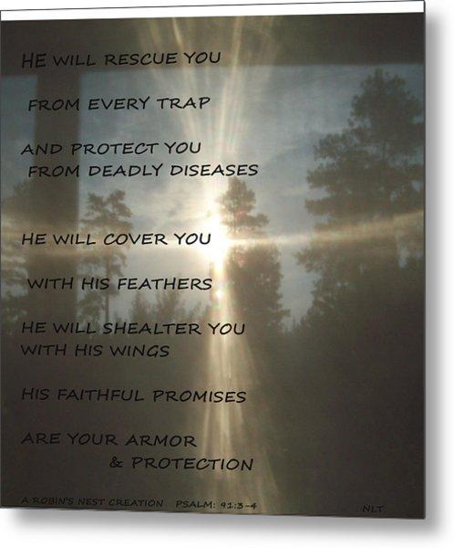 Natural Sun Cross Psalm Nlt Metal Print