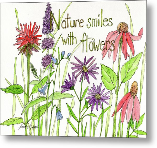 Nature Smile With Flowers Metal Print