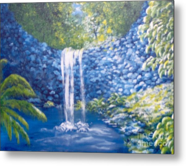 Metal Print featuring the painting Nature's Pool by Saundra Johnson