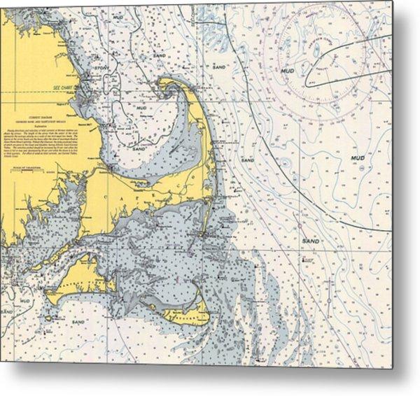 Vintage Cape Cod Nautical Chart 1945h Metal Print