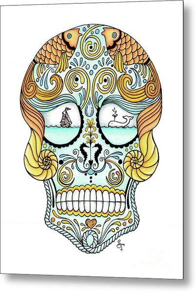 Nautical Sugar Skull Metal Print