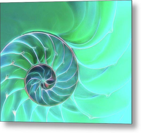 Nautilus Aqua Spiral Metal Print
