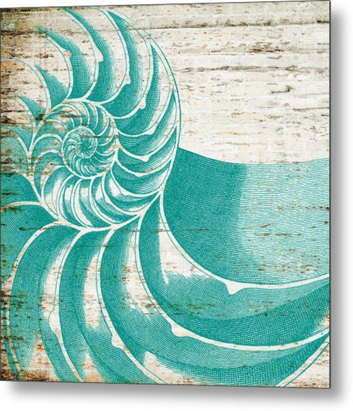Nautilus Shell Distressed Wood Metal Print
