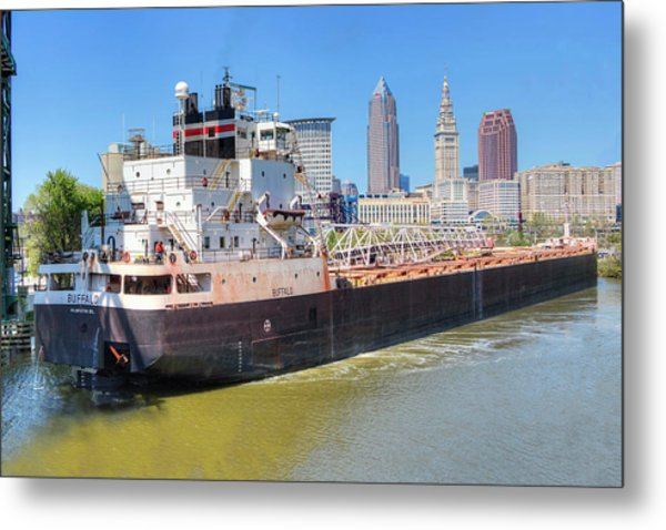 Navigating The Cuyahoga Metal Print