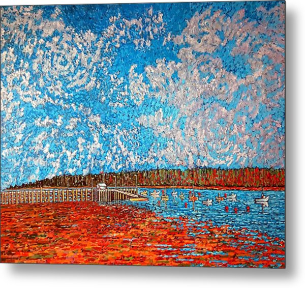 Navy Island And Market Wharf St. Andrews, Nb View From Water Street Metal Print
