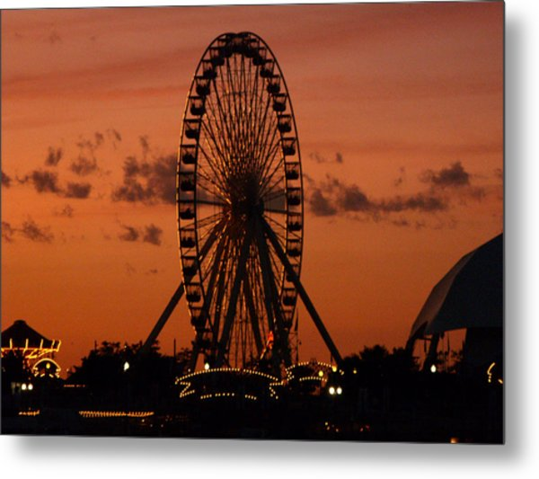 Navy Pier At Sunset Metal Print by Jean Gugliuzza