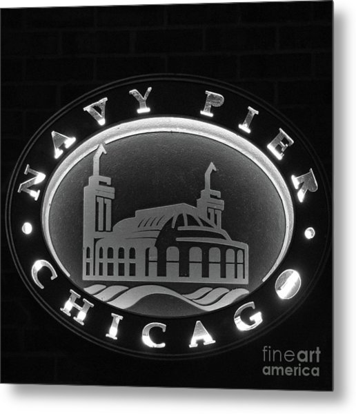 Navy Pier Chicago Sign Metal Print