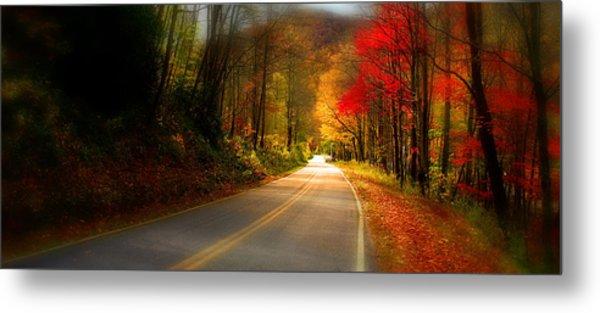 Nc Mountain Fall Drive Metal Print