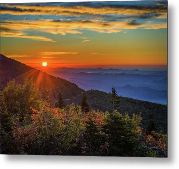 Nc Mountain Sunrise Blue Ridge Mountains Metal Print