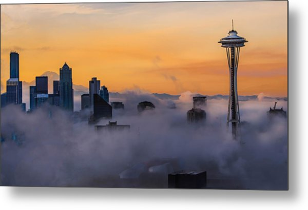 Needling The Fog Metal Print