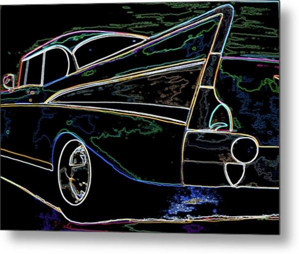 Neon 57 Chevy Bel Air Metal Print