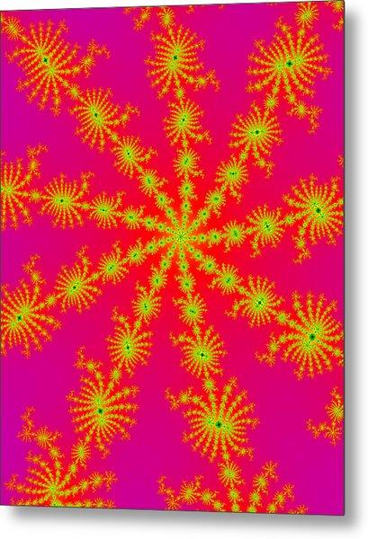 Neon Fractals Metal Print