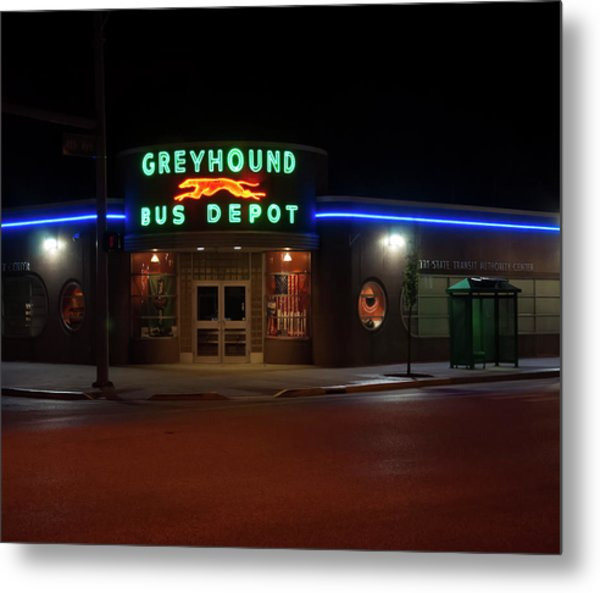 Metal Print featuring the photograph Neon Greyhound Bus Depot Sign by Chris Flees