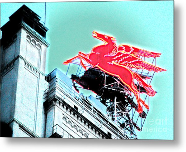 Neon Pegasus Atop Magnolia Building In Dallas Texas Metal Print