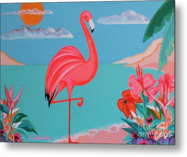 Neon Island Flamingo Metal Print
